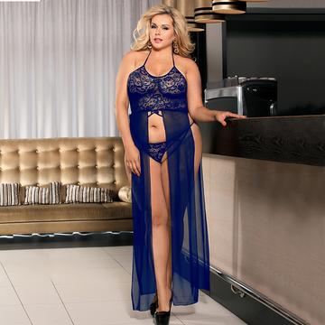 blue lace top long nightie
